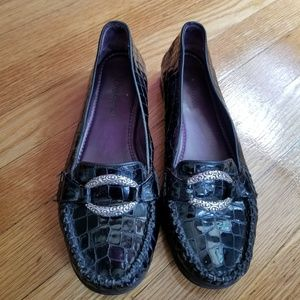 Brighton Leather Crocodile Loafers With Buckle